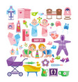 kids clothes toys linen things for newborns vector image