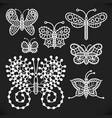 openwork white butterflies one line vector image