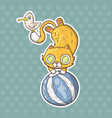 cartoon circus cat and seagull vector image vector image