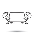 cartoon kids with placard in their hands in line vector image