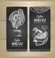 chalk drawing coffee menu design vector image