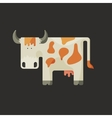 Cute white cartoon cow with horns and red spots vector image