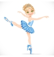 Ballerina girl dancing in blue dress isolated on a vector image vector image