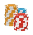 Red yellow and blue casino tokens cartoon icon vector image