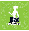 eat healthy woman gym green vegetable background v vector image