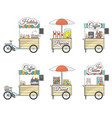 flat tricycle bike and sales stand icons vector image