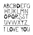 latin handwritten alphabet with hearts you can vector image