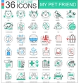 my pet friend flat line outline icons for vector image
