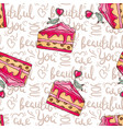 romantic cakes seamless pattern with vector image