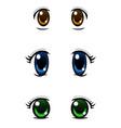set of anime style eyes isolated on white vector image