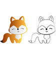 drawing red fox vector image