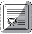 sticker monochrome card with male tiger head vector image
