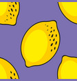 lemons seamless pattern on a purple background vector image