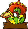 sympathetic cactus with a mexican taco vector image vector image