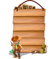 Empty wooden planks with a cowboy vector image vector image