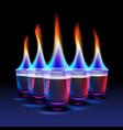 set of burning cocktails vector image