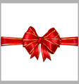 Red bow with horizontal ribbons with golden strips vector image vector image
