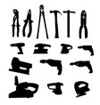 Collection of Power Tools Silhouette vector image vector image