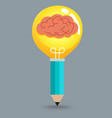 Pencil Brain Bulb vector image