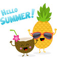 coconut and pineapple celebrating summer vector image