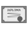 Diploma icon gray monochrome style vector image