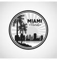Miami florida design Palm tree and City icon vector image