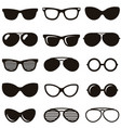Set of black retro sunglasses icons vector image