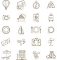 travel icons line vector image