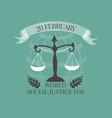 World Social Justice Day emblem vector image