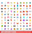 100 concert icons set cartoon style vector image