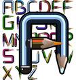 pencil alphabet vector image vector image