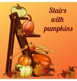 Autumn still life with pumpkin berries and leaves vector image
