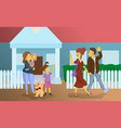 nanny with children sees off parents vector image