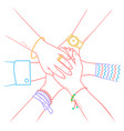 people making pile of hands vector image