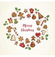 Gingerbread cookies set arranged in as holiday vector image vector image