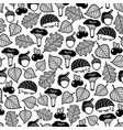 seamless pattern with forest flora and fauna vector image