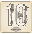 Calligraphic font Number 10 vector image
