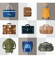 Set of flat bag and wallet icons vector image