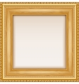 Empty gold frame hanging on the wall vector image