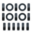 realistic car tire icon collection vector image