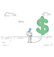 rich business man hold dollar sign money growth vector image