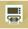 Flat icon with long shadow ATM cash vector image