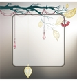 Steel gray background with tree branch and last vector image vector image