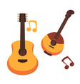 musical instruments guitars or banjo and music vector image
