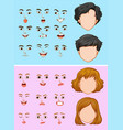 man and woman with many facial expressions vector image vector image