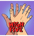 high five greeting white black hand vector image