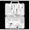 set of different tools in a box vector image vector image