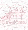 balcanic building sketch vector image