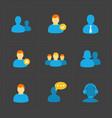 people flat icons set on black vector image