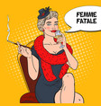 pop art beautiful woman in fur with champagne vector image